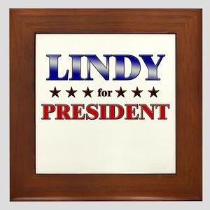 LINDY for president Framed Tile
