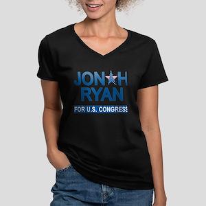 JONAH RYAN for US CONG Women's V-Neck Dark T-Shirt