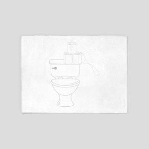 Toilet Outline 5'x7'Area Rug