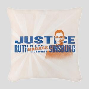 Ruth Badass Ginsburg Woven Throw Pillow