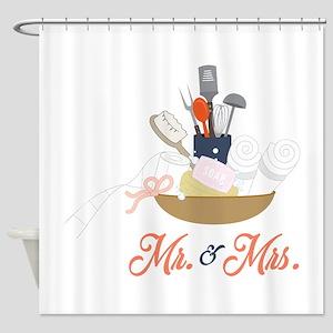 Mr & Mrs Shower Curtain