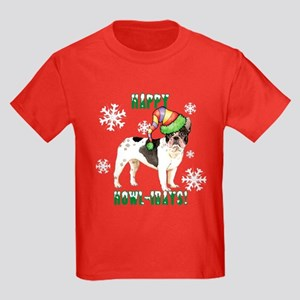 Holiday French Bulldog Kids Dark T-Shirt