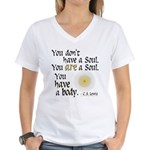 CS Lewis Soul-Body Quote Women's V-Neck T-Shirt