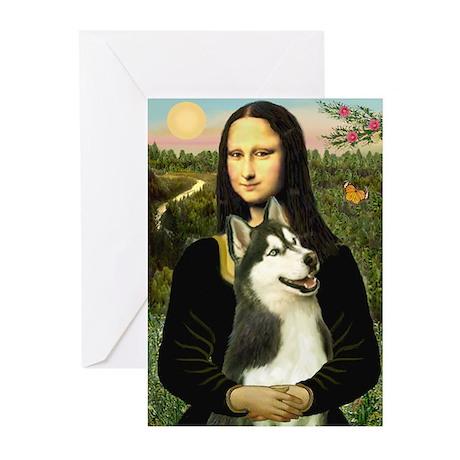 Mona Lisa & Siberian Husky 3 Greeting Cards (Packa