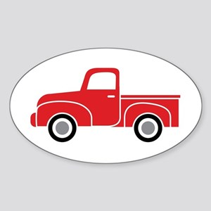 Vintage Red Truck Sticker