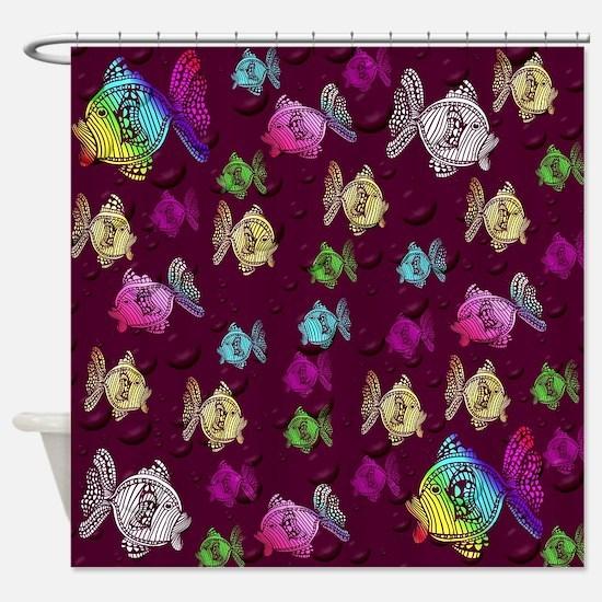 Cute Fabric fishing Shower Curtain