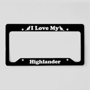 I Love My Highlander Cat License Plate Holder