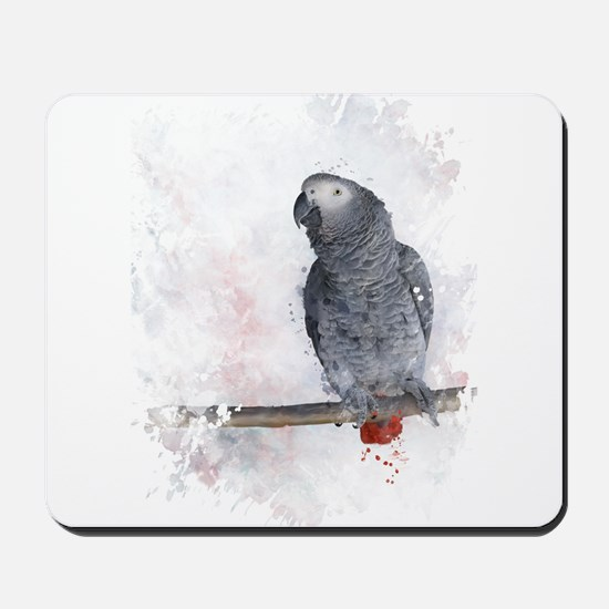 Watercolor African Grey Parrot Mousepad