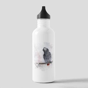 Watercolor African Grey Parrot Water Bottle