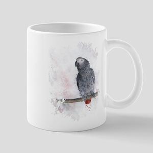 Watercolor African Grey Parrot Mugs