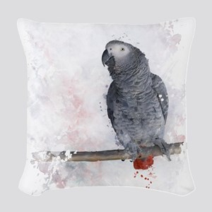 Watercolor African Grey Parrot Woven Throw Pillow