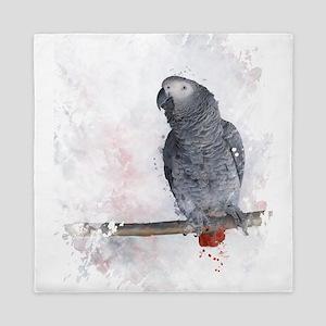 Watercolor African Grey Parrot Queen Duvet
