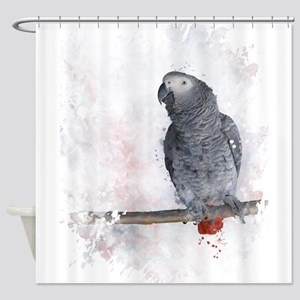 Watercolor African Grey Parrot Shower Curtain