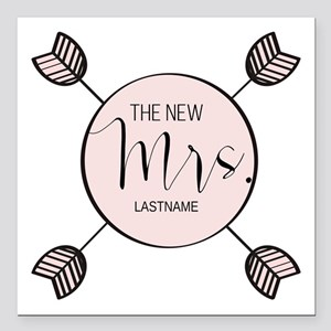 "The New Mrs Personalized Square Car Magnet 3"" x 3"""