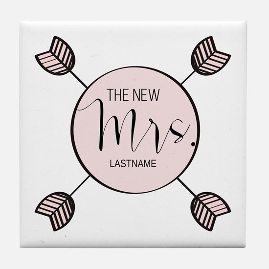 The New Mrs Personalized Bride Tile Coaster