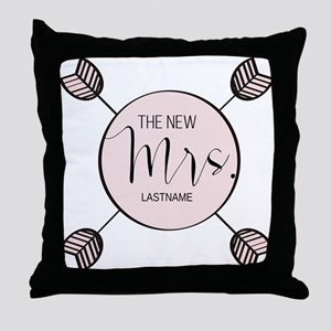 The New Mrs Personalized Bride Throw Pillow