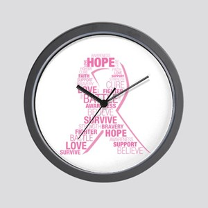 Breast Cancer Ribbon Collage Wall Clock