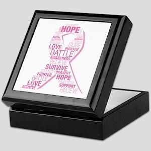 Breast Cancer Ribbon Collage Keepsake Box