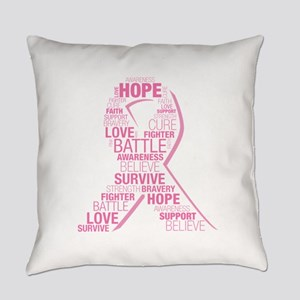 Breast Cancer Ribbon Collage Everyday Pillow