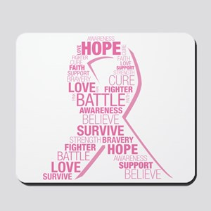 Breast Cancer Ribbon Collage Mousepad