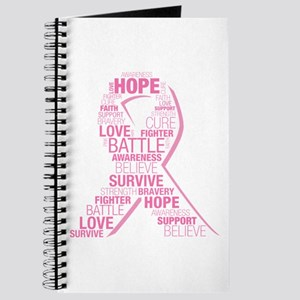 Breast Cancer Ribbon Collage Journal