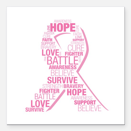 "Breast Cancer Ribbon Col Square Car Magnet 3"" x 3"""