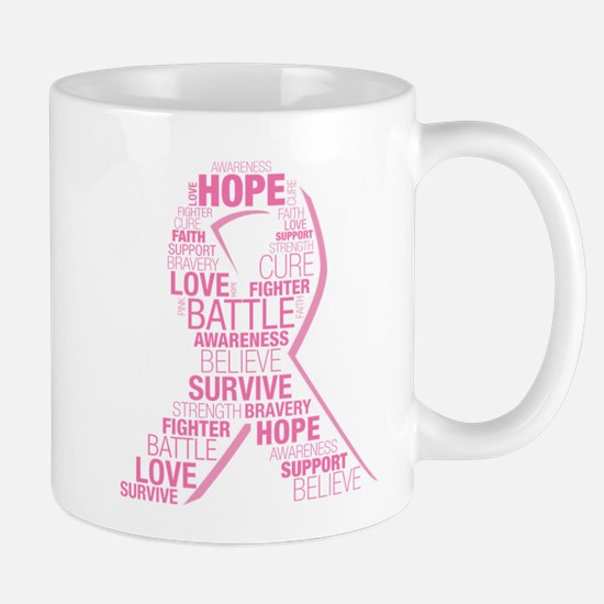 Breast Cancer Ribbon Collage Mug