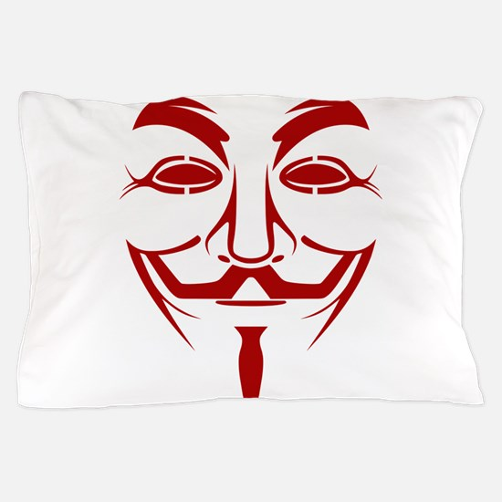 Red Guy Fawkes Mask Pillow Case