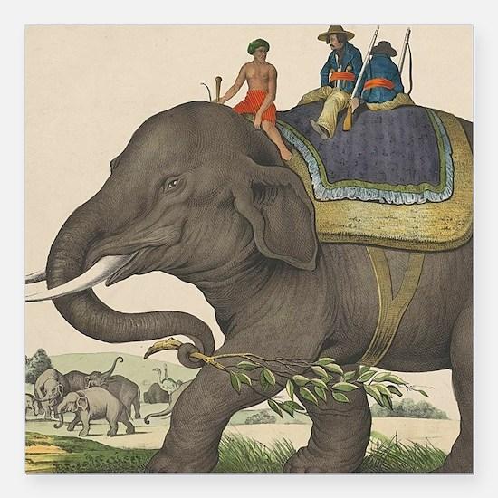 "Cute Elephant Square Car Magnet 3"" x 3"""