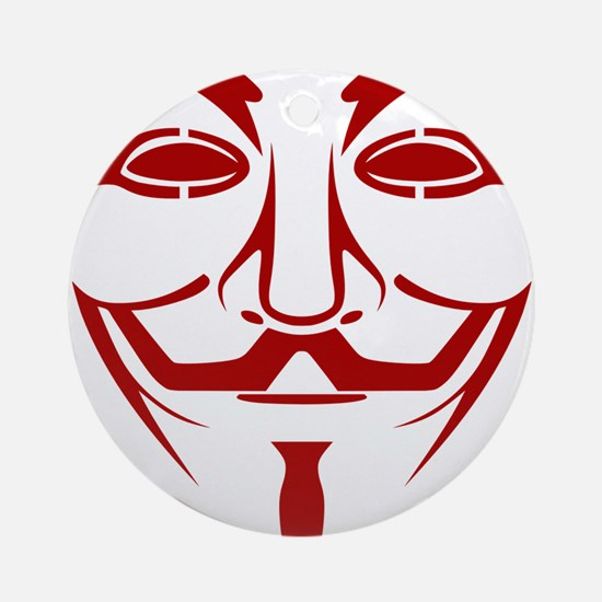 Red Guy Fawkes Mask Round Ornament