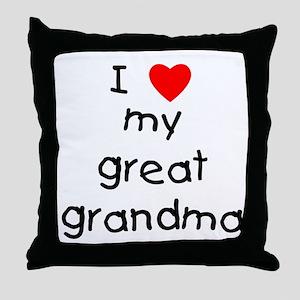 I love my great grandma Throw Pillow