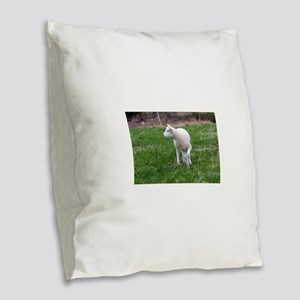 lamb Burlap Throw Pillow