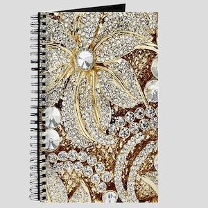 floral champagne gold rhinestone Journal