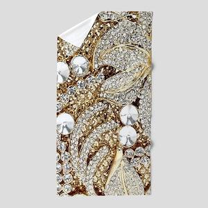 floral champagne gold rhinestone Beach Towel