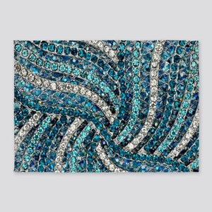 bohemian crystal teal turquoise 5'x7'Area Rug