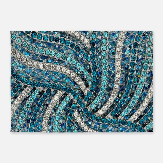 bohemian crystal teal turquoise 5'x7'Area Rug