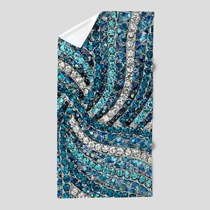 bohemian crystal teal turquoise Beach Towel