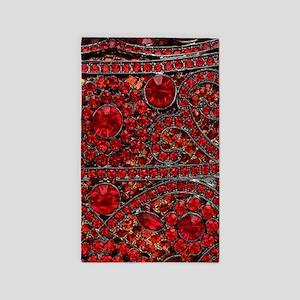 bohemian gothic red rhinestone Area Rug