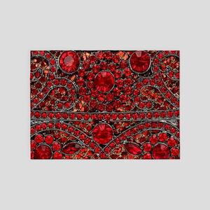 bohemian gothic red rhinestone 5'x7'Area Rug