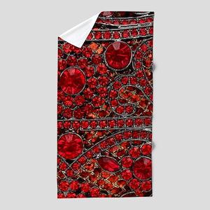 bohemian gothic red rhinestone Beach Towel