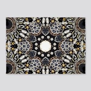 great gatsby black rhinestone 5'x7'Area Rug