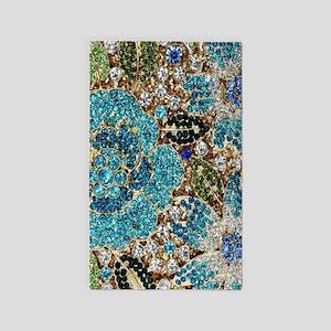 bohemian floral turquoise rhinestone Area Rug