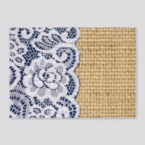 Country Blue Lace Burlap 5'x7'Area Rug