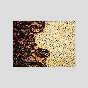 bohemian burlap Black lace 5'x7'Area Rug