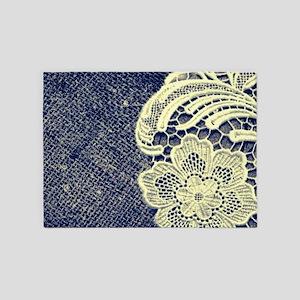 navy blue burlap lace 5'x7'Area Rug