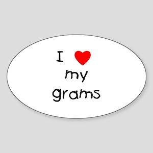 I love my grams Oval Sticker