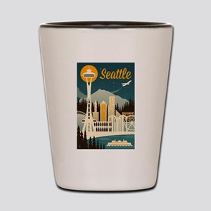 Seattle, Washington - Retro Skyline - Lantern Pres