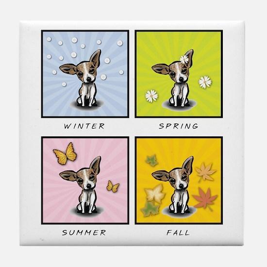 4 Seasons Chihuahua Tile Coaster