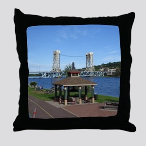 Portage Lake Bridge Throw Pillow
