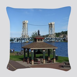Portage Lake Bridge Woven Throw Pillow